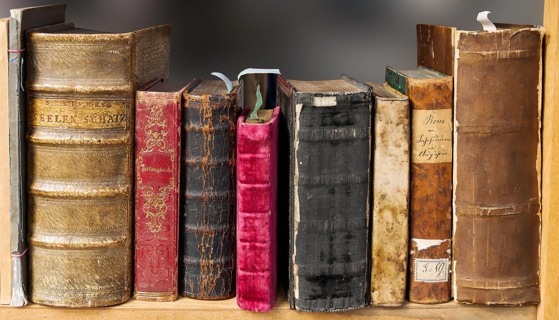 alte Bücher Rücken an Rücken